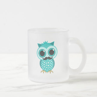 funny mustache owl frosted glass coffee mug