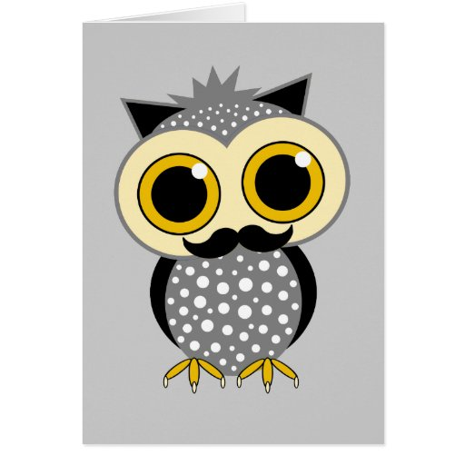 funny mustache owl greeting cards