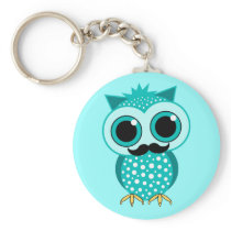 funny mustache owl keychain