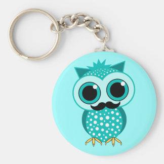 funny mustache owl key chain