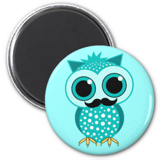 funny mustache owl magnet