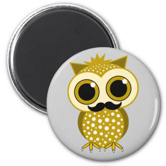 funny mustache owl magnets