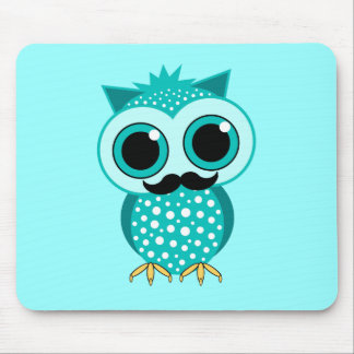 funny mustache owl mouse pad