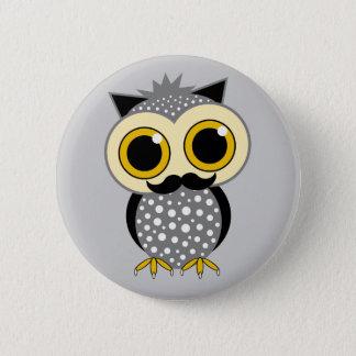 funny mustache owl pinback button