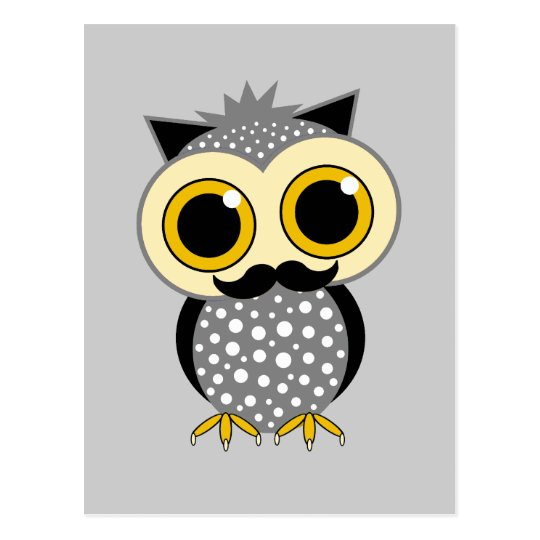 funny mustache owl postcard