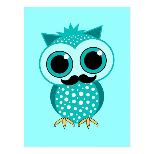 funny mustache owl postcard