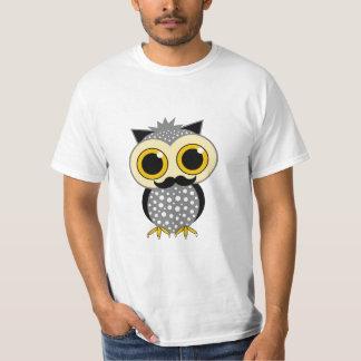 funny mustache owl tee shirt