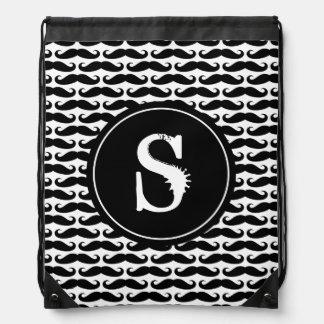Funny mustache pattern drawstring backpack bag