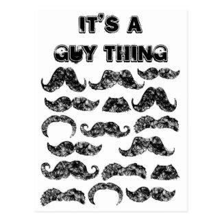 Funny Mustache pattern for men Postcard
