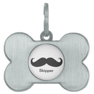 funny mustache pet name tags