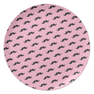 Funny mustache pink black pattern plates