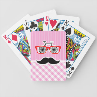 Funny Mustache; Pink Plaid; Checkered Bicycle Playing Cards