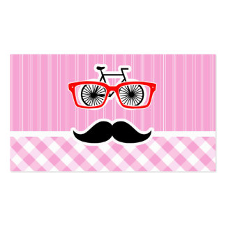 Funny Mustache; Pink Plaid; Checkered Business Card Templates