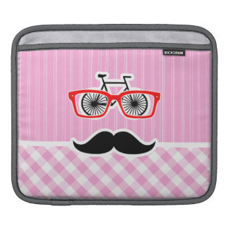 Funny Mustache; Pink Plaid; Checkered iPad Sleeve