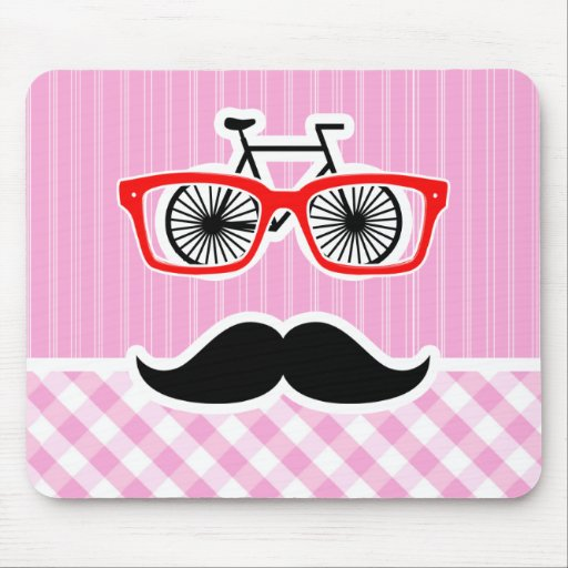 Funny Mustache; Pink Plaid; Checkered Mouse Pad