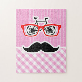 Funny Mustache; Pink Plaid; Checkered Jigsaw Puzzles