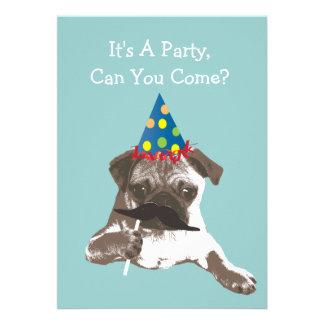 Funny Mustache Pug Birthday Party Invitation