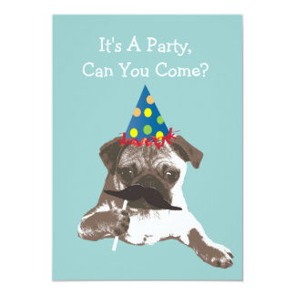 Funny Mustache Pug Birthday Party Invitation