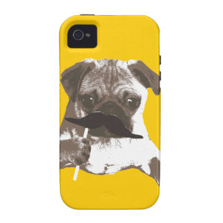 Funny Mustache Pug Case-Mate iPhone 4 Covers