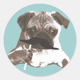 Funny Mustache Pug Classic Round Sticker