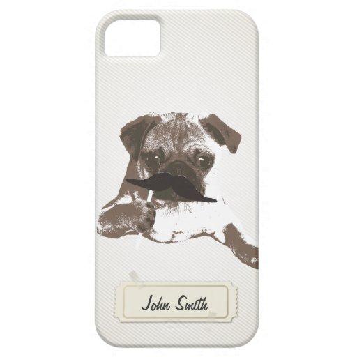 Funny Mustache Pug Custom Name iPhone 5 Case