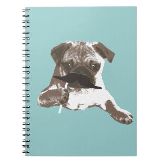 Funny Mustache Pug Notebook