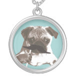 Funny Mustache Pug Round Pendant Necklace
