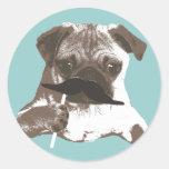 Funny Mustache Pug Round Sticker