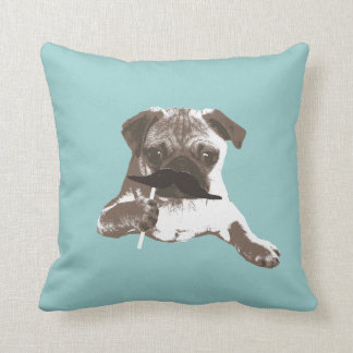 Funny Mustache Pug Throw Pillow
