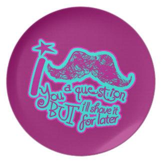 Funny mustache purple & blue plates