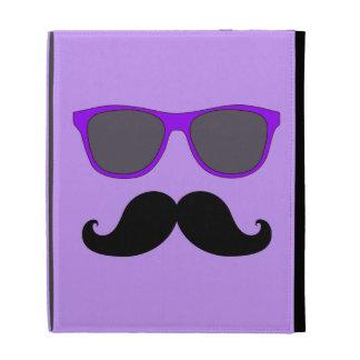 FUNNY MUSTACHE PURPLE SUNGLASSES iPad FOLIO CASES