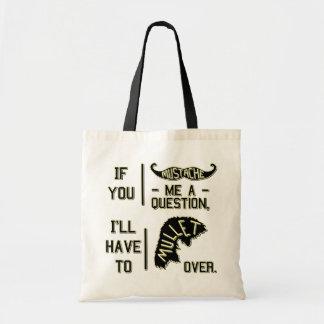 Funny Mustache Question Mullet Joke Pun Canvas Bag