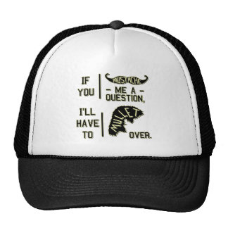 Funny Mustache Question Mullet Joke Pun Trucker Hat