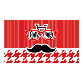Funny Mustache; Red Houndstooth Business Card