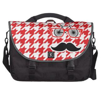 Funny Mustache; Red Houndstooth Laptop Messenger Bag