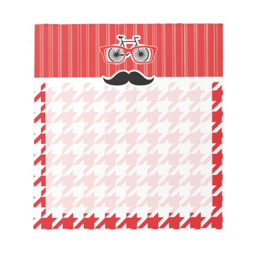 Funny Mustache; Red Houndstooth Memo Note Pad