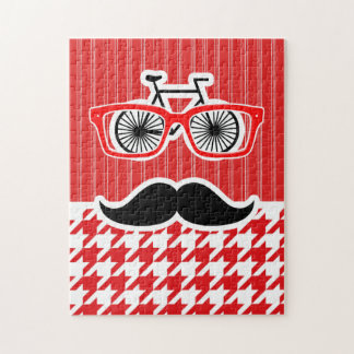 Funny Mustache; Red Houndstooth Puzzles