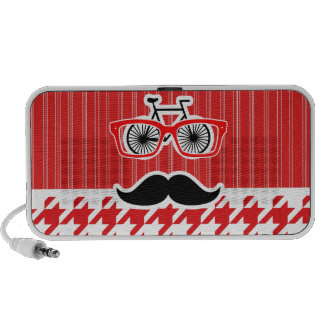 Funny Mustache Red Houndstooth Speakers