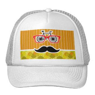 Funny Mustache; Retro Green & Orange Trucker Hat