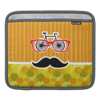 Funny Mustache; Retro Green & Orange Sleeve For iPads