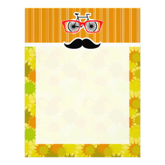 Funny Mustache; Retro Green & Orange Personalized Letterhead