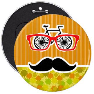 Funny Mustache; Retro Green & Orange Pinback Button