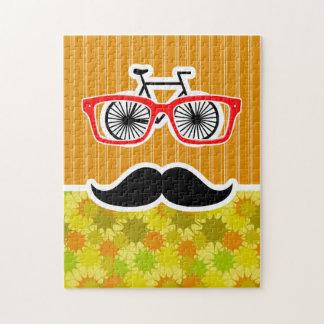 Funny Mustache; Retro Green & Orange Jigsaw Puzzles