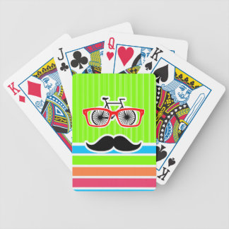 Funny Mustache; Retro Neon Rainbow Bicycle Playing Cards