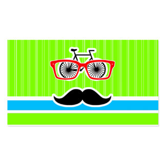 Funny Mustache; Retro Neon Rainbow Business Cards
