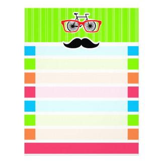 Funny Mustache; Retro Neon Rainbow Letterhead