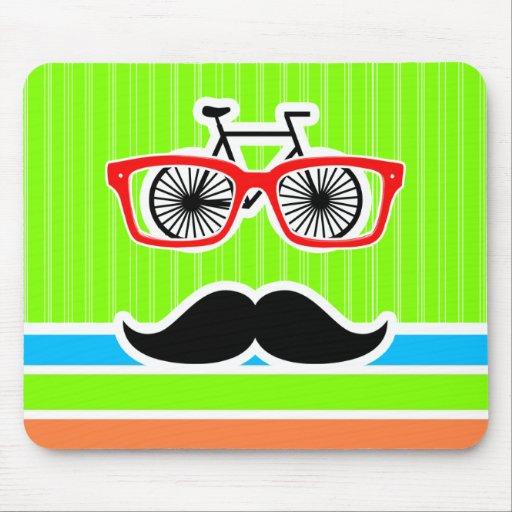 Funny Mustache; Retro Neon Rainbow Mouse Pads