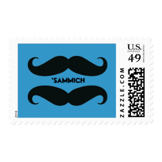 Funny Mustache Sandwich Custom Postage Stamps