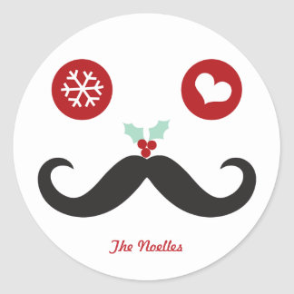 Funny Mustache Smiley Christmas Holiday Sticker