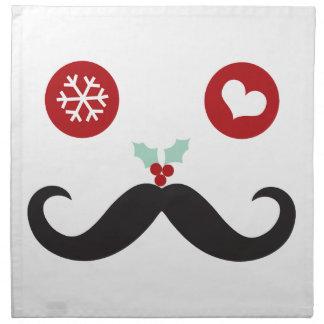 Funny Mustache Smiley Face Holiday Cloth Napkin